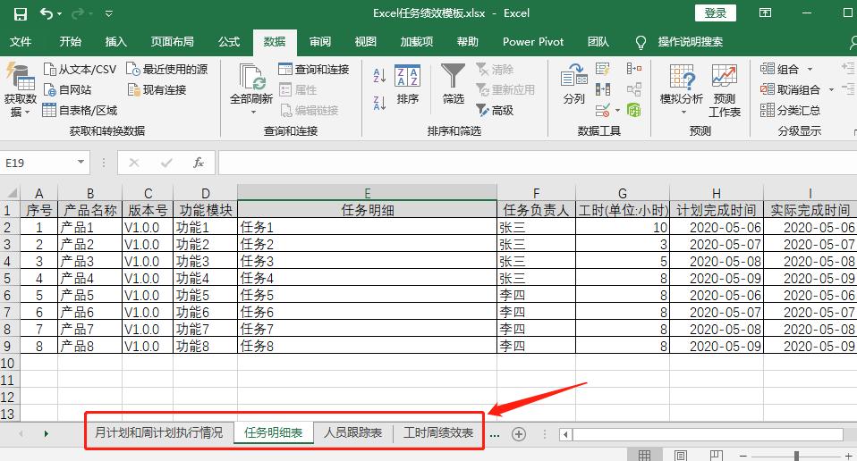 Excel任务绩效模板